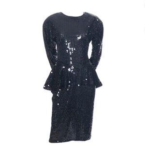 VINTAGE DESIGNER OLEG CASSINI BLACK SEQUIN DRESS!
